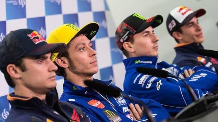 Pedrosa, Rossi, Marquez y Lorenzo