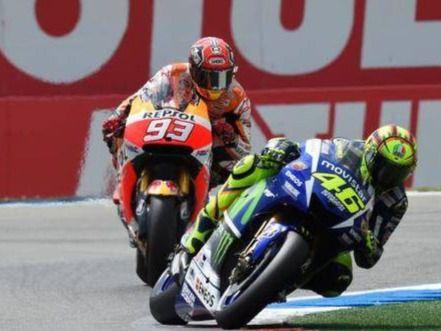 Rossi, Marquez y Lorenzo en Assen