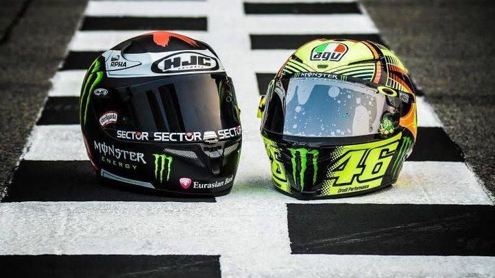 Cascos de Valentino Rossi y Jorge Lorenzo