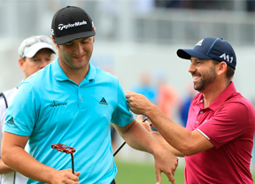Jon Rahm y Sergio García, juntos en el arranque de The Players con la compañía de Dustin Johnson