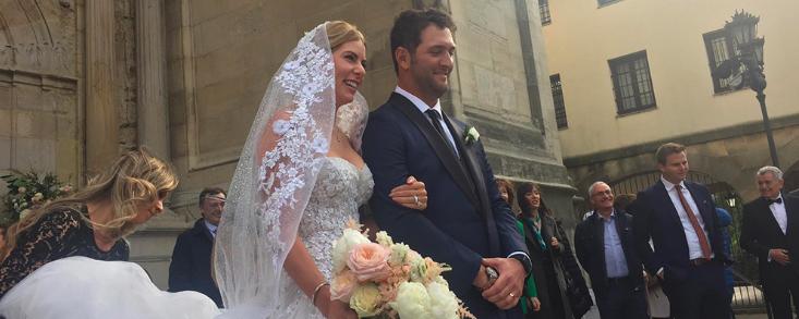 Jon Rahm le dio el 'sí, quiero' a Kelly Cahill en la Basílica de Begoña