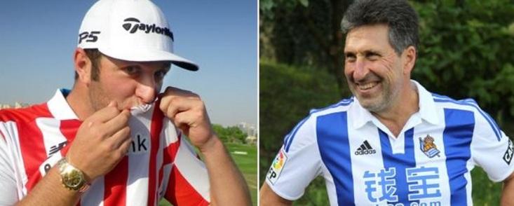 Jon Rahm y Chema Olazábal, amigos y rivales futboleros al máximo