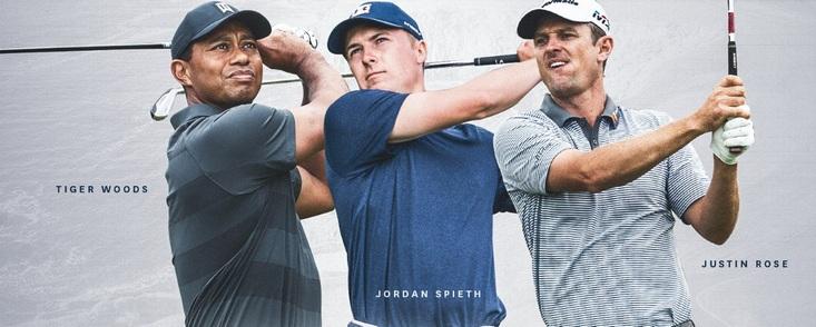 Woods, Spieth y Rose, partido estelar para jueves y viernes en Pebble Beach