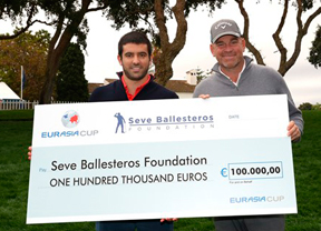 La Fundación Seve Ballesteros recibe 100.000 Euros de donación de la Eurasia Cup
