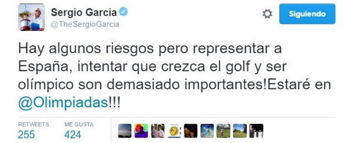 Sergio García deja claro a través de Twitter que si estará en los Juegos Olímpicos