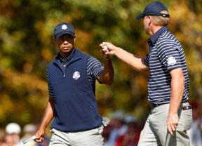 Tiger Woods y Steve Stricker, vice capitanes del equipo en París